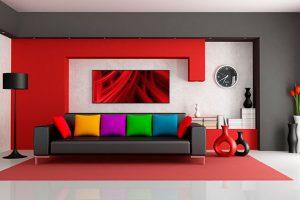Nghệ thuật bài trí sofa đen với màu sắc thảm và tường