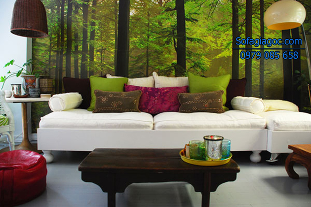 Sofa và gối ôm màu sắc thiên nhiên