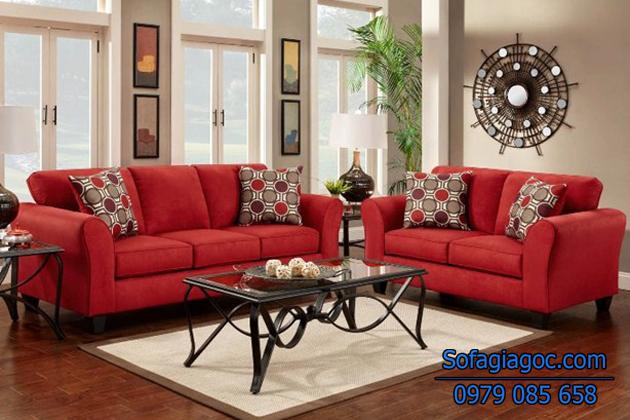 Sofa phòng khách màu đỏ trẻ trung và hiện đại