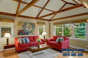 sữ kết hợp giữa sofa và không gian đơn giản mà tinh tế