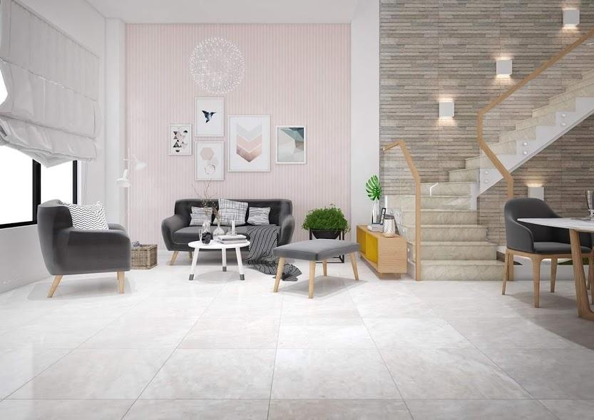 Không gian phòng khách được trang trí bằng gạch ốp tường