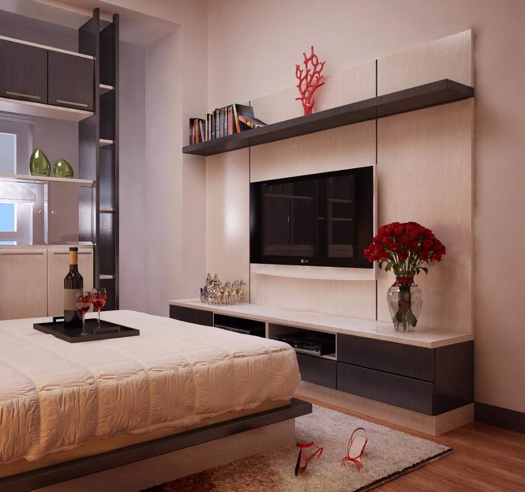 Kệ tivi được bày trí khoa học trong không gian phòng ngủ