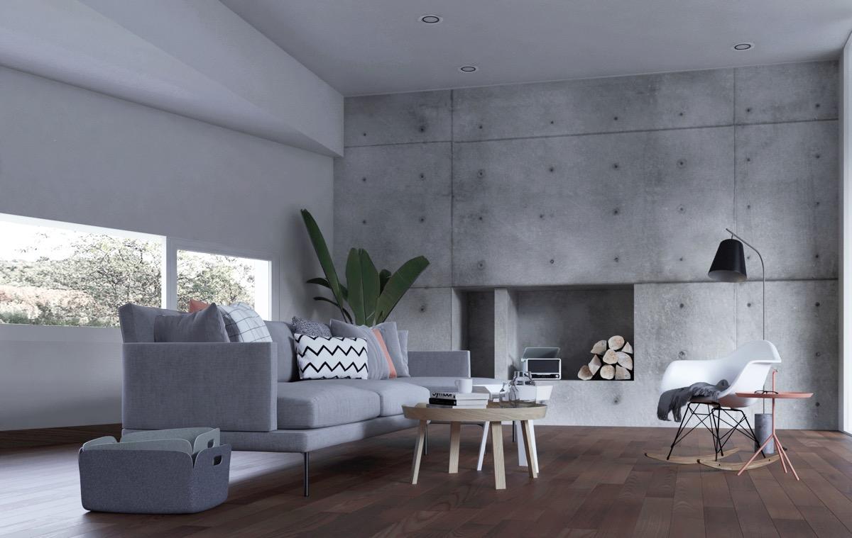 Mảng tường được nhấn mạnh bằng vật liệu giả bê tông rất thu hút, ấn tượng