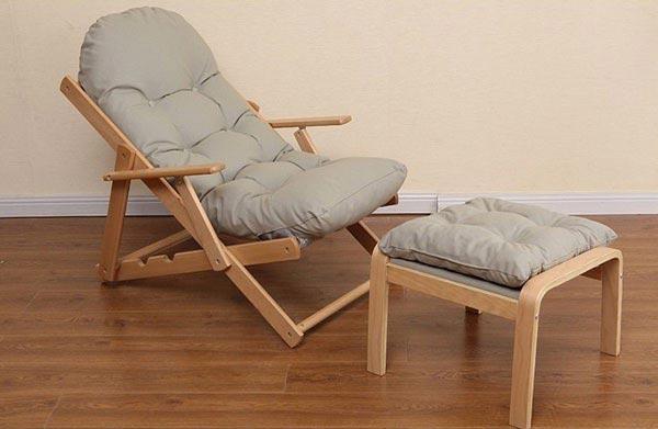 Ghế lười có chân gỗ đệm