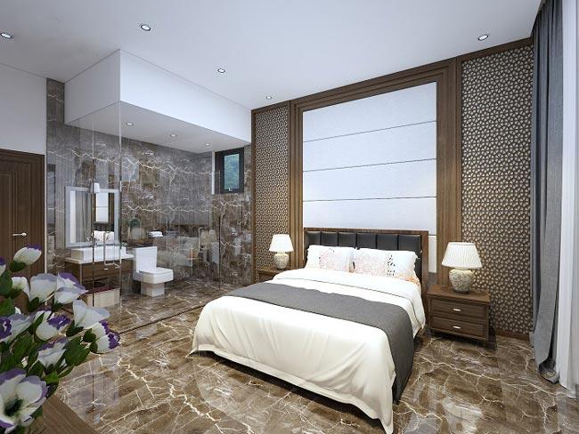 Mẫu phòng ngủ master có phòng tắm kính
