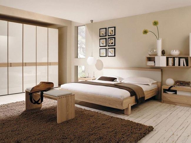 Phòng ngủ master đẹp với tủ âm tường