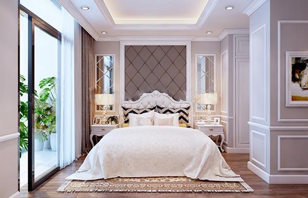 Phòng ngủ master với phong cách cách tân cổ điển