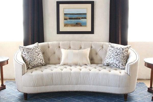 Sofa Nỉ Hiện đại Phòng Khách Traditional Gray Curved Sofa