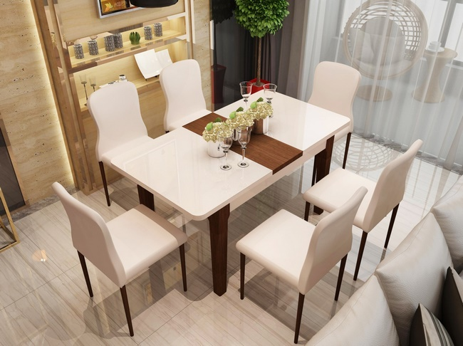Mẫu bàn ăn hình chữ nhật sang trọng, đẳng cấp