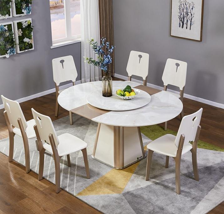 Không gian phòng ăn thêm đẳng cấp với mẫu bàn ăn tròn độc đáo, tinh tế