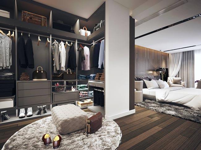 phòng ngủ master kết hợp với phòng thay đồ tiện lợi