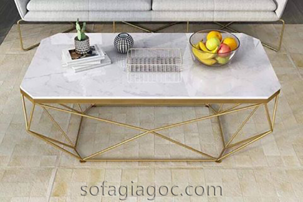 Bàn Sofa Mặt Đá Chân Vàng Bts 115